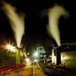 Steam locomotives at night — Stock Photo #4681561
