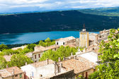 Aiguines and St Croix Lake at background, Var Department, Proven — Stock Photo