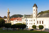 The Franciscan monastery and the plague column, Stefanik Square, — Stock Photo