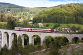 Engine carriage on viaduct Novina, Krystofovo Valley, Czech Repu — Stock Photo