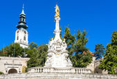 The plague column and castle in Nitra, Slovakia — Stock Photo