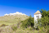 Spissky Castle and God''s torture at front, Slovakia — Stock Photo