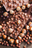 Chocolate bars with hazelnuts — Stock Photo