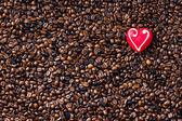 Coffee beans and heart — Stock Photo