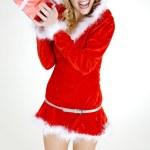 Santa Claus with Christmas present — Stock Photo #6772955