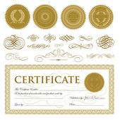 Vector Gift Certificate and Seal Set — Stock Vector