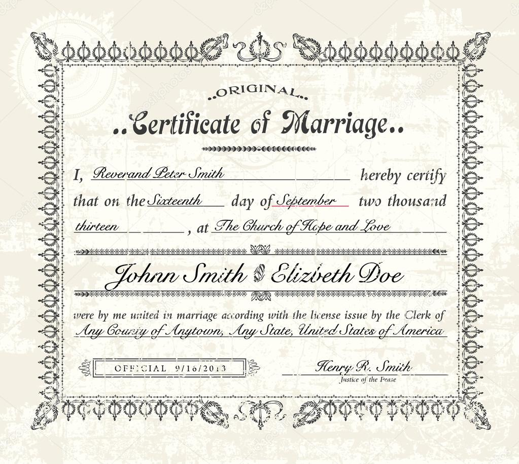 Vector Vintage Marriage Certificate. Easy to edit. Distressed overlay is easy to remove. — Stock Vector #15232545
