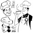 Vector Retro Chef Graphics Print — Stockvektor