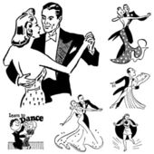 Vector Retro Ballroom Dancing Graphics — Stock Vector
