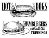 Vektor retro varmkorv och hamburgare banners print — Stockvektor