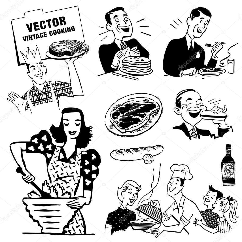 Retro Kitchen Illustration: Stock Vector © Createfirst