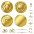 Vector Gold Seals Set - Stok Vektör