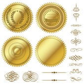 Vector Gold Seals Set — Stock Vector