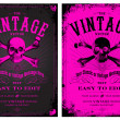Vector Vintage Pink Poster Set — Stock Vector