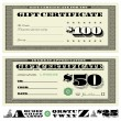 Vector Money Gift Certificate Set — Stock Vector
