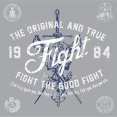Vector Vintage Fight Graphic — Stock Vector