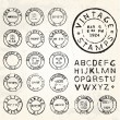 Vector Vintage Stamp Set — Stock Vector