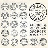 Vector Vintage Stamp Set — Stock Vector