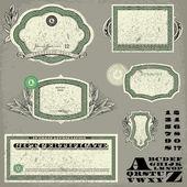 Vector Distressed Money Frame Set — Stock Vector