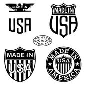 Vector Retro Clipart Made In The USA Stamps — Stock vektor