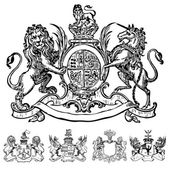 Vector Clipart of Victorian Lion Crests — Stock Vector