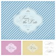 Vector Clipart Striped Save the Date Frame Set — Stok Vektör