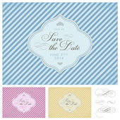 Vector Clipart Striped Save the Date Frame Set — Stock Vector