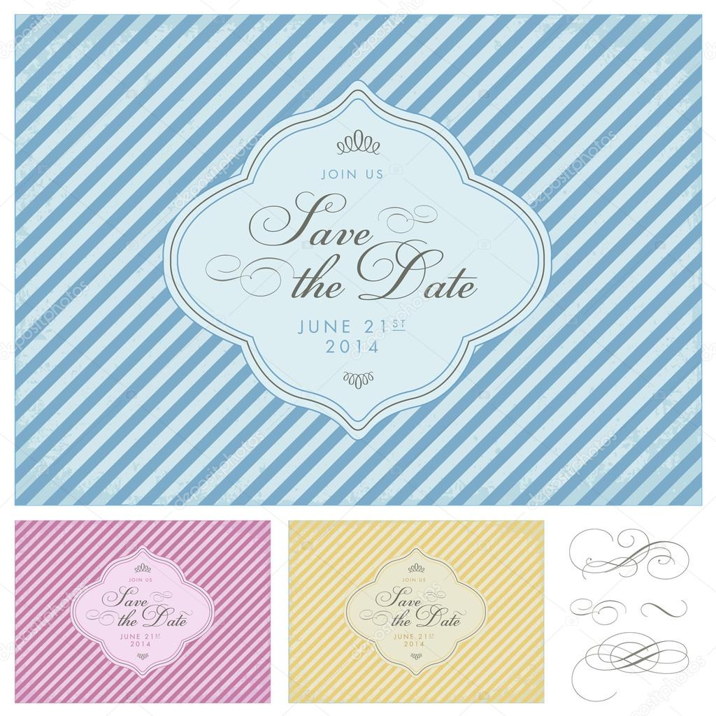 vector clipart striped save the date frame set stock vector 33847455