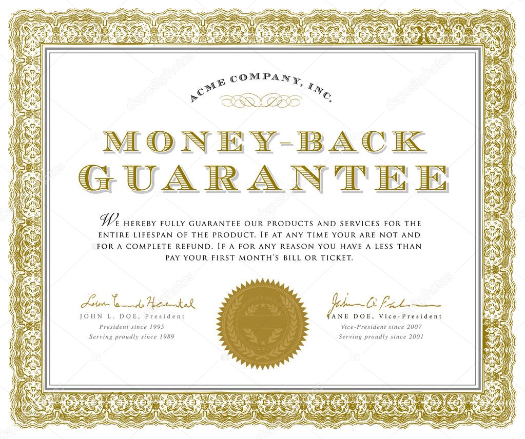 Vector Money Back Guarantee Certificate