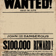 Vector Western Wanted Reward Poster Template — Векторная иллюстрация