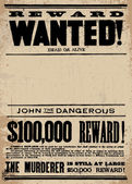 Vector Western Wanted Reward Poster Template — Stock Vector