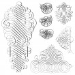 Vector Clipart Fancy Swirl Ornament Set — Stok Vektör