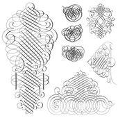 Vector Clipart Fancy Swirl Ornament Set — Stock Vector