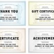 Vector Vintage Gift Certificate Template Set — Stock Vector