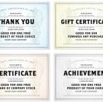 Vector Vintage Gift Certificate Template Set — Stock Vector