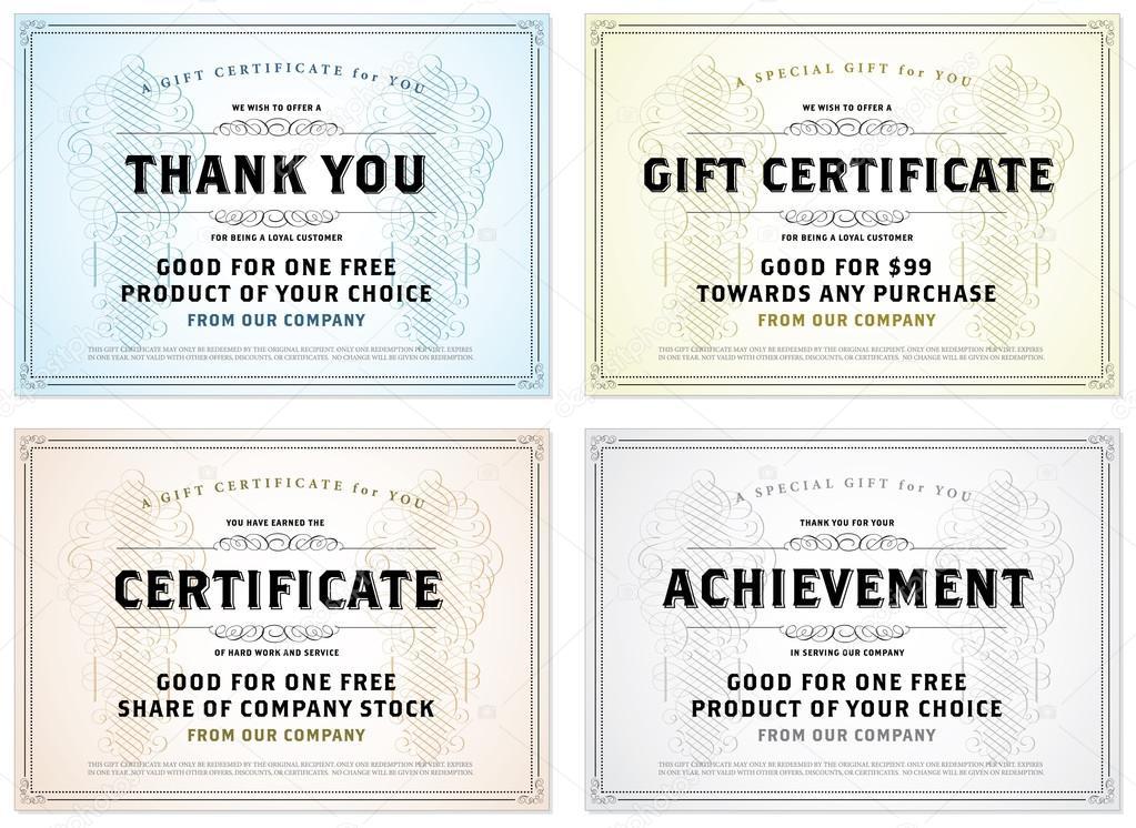 vector vintage gift certificate template set � stock