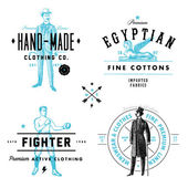 Vector Vintage Clothing Label and Badge Set — Stock Vector