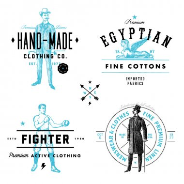 Vector Vintage Clothing Label and Badge Set