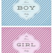 Wektor stockowy : Vector Boy and Girl Striped Birth Announcment Set