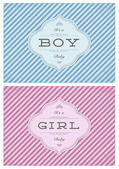 Vector Boy and Girl Striped Birth Announcment Set — Stock Vector