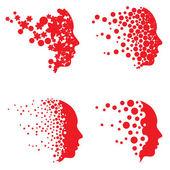 Vector Head Logo and Face Logo Set — Stock Vector