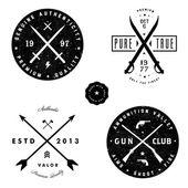 Vector Gun and Sword Logo and Badge Set — Stock Vector