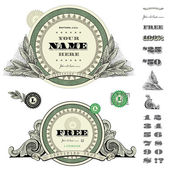 Vector Round Money Frame Set — Vector de stock