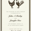 Stock Vector: Vector Rooster and Hen Wedding Invite Template