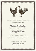 Vector Rooster and Hen Wedding Invite Template — Stock Vector