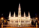 Gece viyana belediye binası — Stok fotoğraf