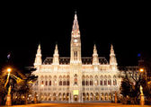Town hall Vienna at night — Stockfoto