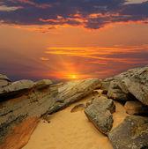 Stones desert on sunset — Stock Photo