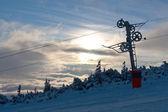 Chair lift gear on winter ski resort — Stock Photo
