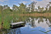 Fishing place on river — Stock Photo